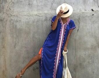 kaftan long Dress,Summer,gypsy,hippie, Festival, Holiday,beach cover up, stylish ,resort wear ,Tassel,Women's,Caftan