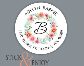 Personalized Address Labels, Custom Address Stickers, Return Address Labels, Floral Watercolor, Monogram Address labels, Waterproof Stickers