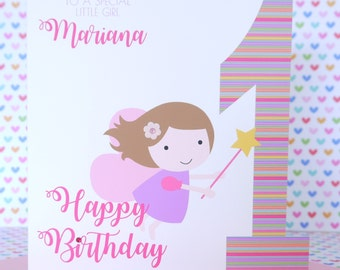 Personalised Handmade Fairy Girls Birthday Card 1st,2nd,3rd,4th Daughter, Niece, Granddaughter