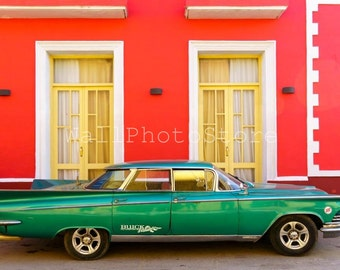 Cuba Photography, Old Green American Car, Trinidad, Car Photography, Cuba Print Art, Travel Photography, Fine Art Photography, Wall Art