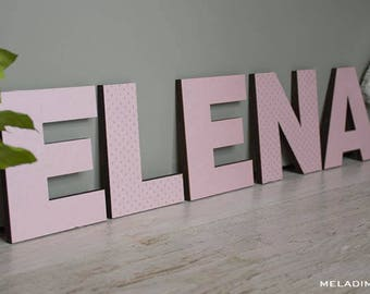 Wood letters with Pink Hearts