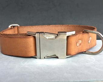 The Tan Side Release Leather Collar