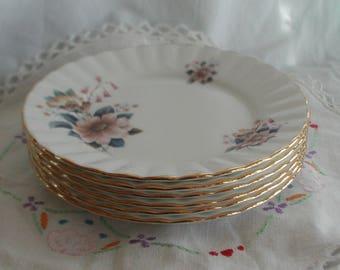 Vintage Salisbury Set of Six Bone China Side Plates Floral Design