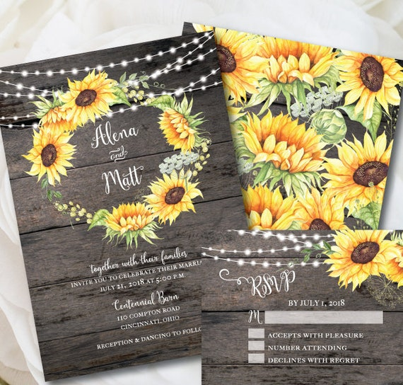 Rustic Wedding Invitation Template Sunflower Invitation