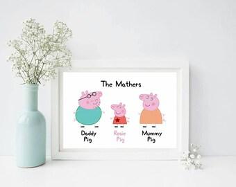Peppa Pig Family Print