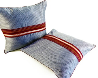 Bay Window Pillow | Boho Dorm Decor | Ice Blue Decorative Pillow | Apartment Decor | Tribal Boho Pillow | Boho Accent Pillow