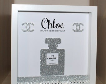 Personalised Birthday shadow box frame gift 18th 21st 30th 40th etc Chanel