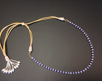Handmade Beaded Tassel Adjustable Gold Necklace. Natural semi precious 3-4mm Amethyst and Moonstone  jewerly with 14K gold fill components.