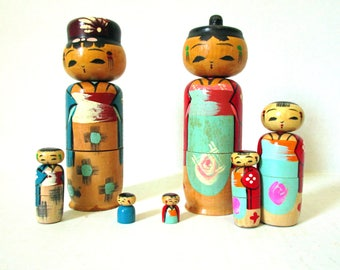 Kokeshi Japanese Wooden Nesting Dolls Folk Art, Japanese Made Nesting Kokeshi Doll Family Wooden and Handpainted with Nodder Bobble Heads