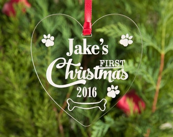Pet Puppy's First Xmas Bauble Personalised Tree Decoration Dog 1st Christmas Present Gift Engraved Hanging Heart