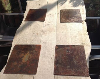 4 off rusted steel placemats