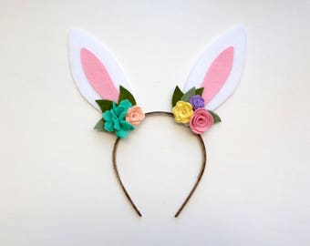 Felt bunny rabbit ear headband - teal, peach, yellow, lavender and rose flowers with green leaves