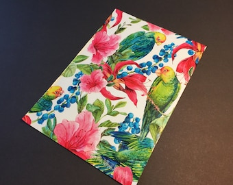 50 Designer Poly Mailers 10x13 PARROTS with Tropical Flowers Envelopes Shipping Bags Spring Mother's Day