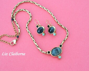 Vintage Liz Claiborne Necklace and Earrings, Gold Tone, Liz Claiborne Earrings, LC Jewelry, Claiborne Choker, Pendant Necklace, DB2