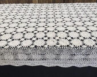 Crochet Tablecloth. Large Oblong Vintage Lace Tablecloth. Large White Rectangular Crocheted Tablecloth.  RBT1428