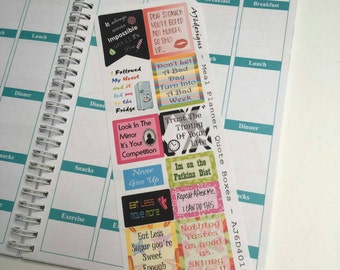 AJ6D415, Meal Planner Quote Boxes, Planner stickers.
