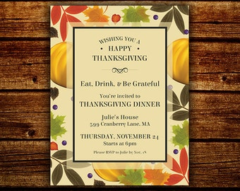 Thanksgiving Flyer, Thanksgiving Invite, Fall Festival Invite and Flyer