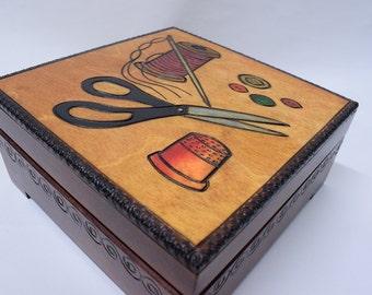 Handmade wooden sewing box/ Needle box/ Storage box/ Needle kit/ Scissors