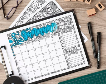 2018 Calendar Printable | Coloring Book Style Printable 2018 Calendar PDF with both Sunday and Monday variations | 2018 Monthly Calendar