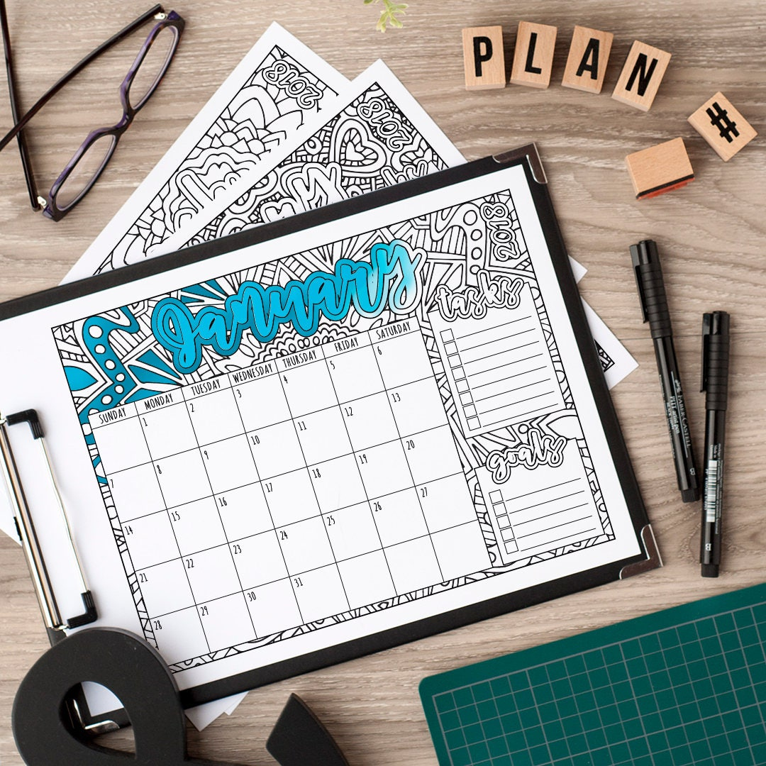 Calendar Booklet 2018 : Calendar printable coloring book style