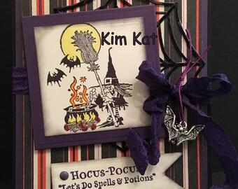 Halloween Card Cartoon Witch Pop Up 3D Hocus Pocus Spells Potions Bat Charm OOAK Mixed Media Handmade