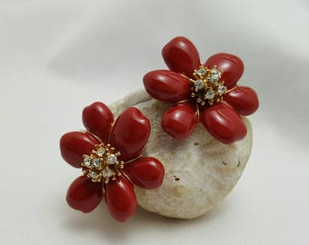 JOAN RIVER'S Red Enamel Flower Earrings