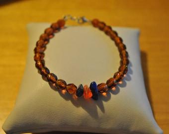 Handmade bracelet with czech beads, lapis lazuli and carnelian gemstones