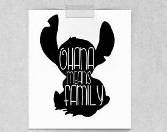 Stitch SVG; ohana means family; 99 cent file