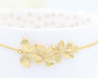 Orchid Bridal Bracelet, Cascading Orchid Bracele, Orchid Bridesmaid Bracelet, Bridesmaid Gift, Bride Bracelet, Flower Bracelet, Romantic