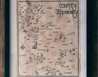County Tipperary Ireland: Aged, Handmade, Hand drawn, Authentic Gift