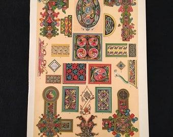 Celtic Ornament No. 3 - Zoomorphic Design, Owen Jones - Original Antique Print, Grammar of Ornament, Vintage Decor