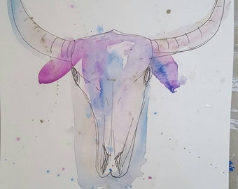 Abstract Watercolor Cattle Skull