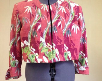 Vintage barkcloth bolero jacket