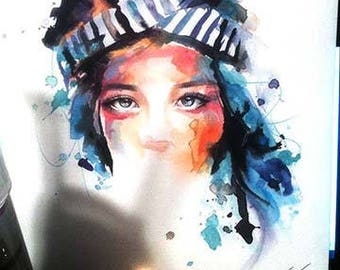 Hmong, Painting, Art, Woman, Gift, Anniversary, Print, Watercolor, Poster