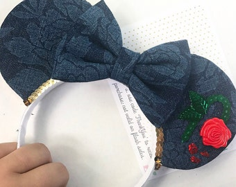 Denim Rose Fabric with Adorning Enchanted Rose