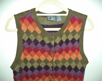 Crop top sweater vest//90's short striped hipster sleeveless knit top// Vintage Liz wear// Women's size small