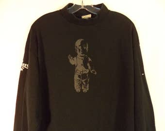 Rare 90s Gravity Games mock turtleneck t shirt// Original Providence RI extreme sports// Graphic baby doll black// Vintage Lee// Men large