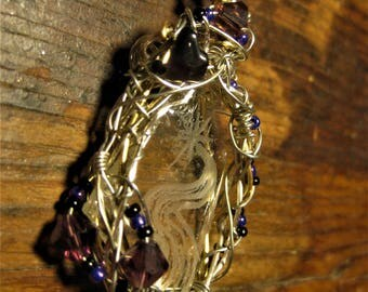 Hand-Engraved Purple River Glass Pendant