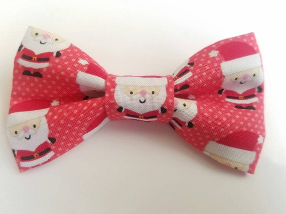 Santa Bow Tie for Cat or Small Dog Collars, Matching Velcro Collar, 100% Sales Goes to Feeding Feral Cats