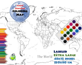 World Map Coloring Page Labeled World Map A And X Inch - World map labled