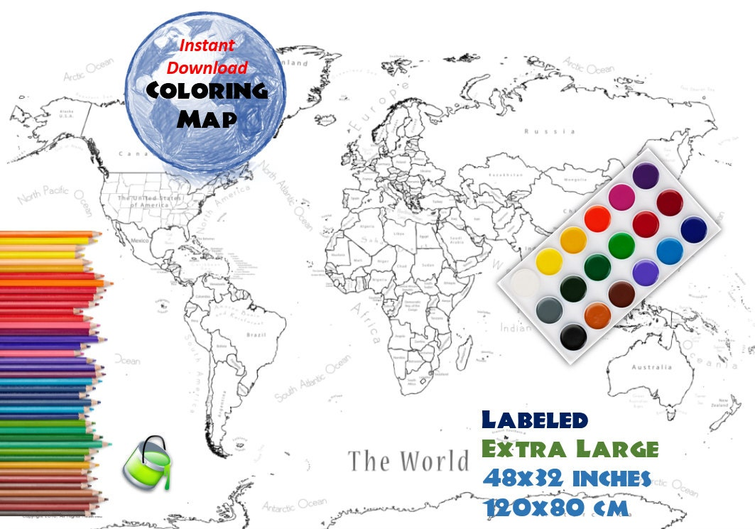 coloring page world map labeled extra large 48x32 inch and 120x80