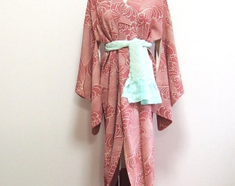 Pink and white kimono/Antique robe /Japanese traditional wear