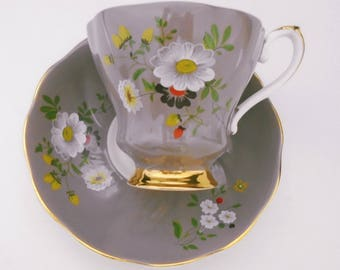 Royal Grafton Hand Painted enamel daisy flowers Unique TAUPE colored tea cup and saucer unique color gold footing vintage elegance beauty
