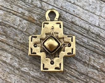 Cross Pendant, Antiqued Cross, Gold Cross, Artisan Cross, Religious Cross, Cross Charm, Southwest
