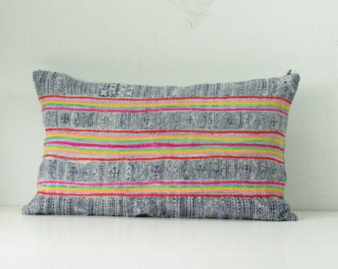 "Hmong throw pillow 12""x20"""