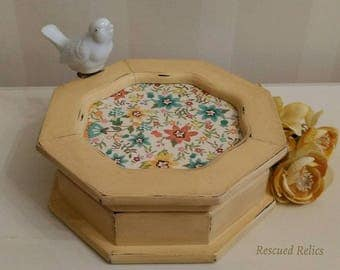 Hand painted Octagon Shaped Jewelry Box finished in Annie Sloan custom mix of Arles and Old White, clear and dark wax.