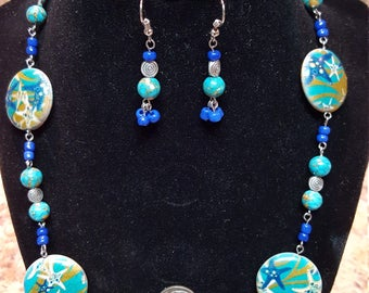 22-Inch tropical necklace, starfish ceramic beads, bracelet and earrings jewelry set