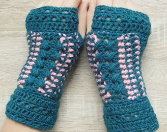 MADE TO ORDER 16111 Petroleum mittens, Crochet mittens, Fingerless gloves, Fingerless mittens, Crochet fingerless gloves, Hand warmers