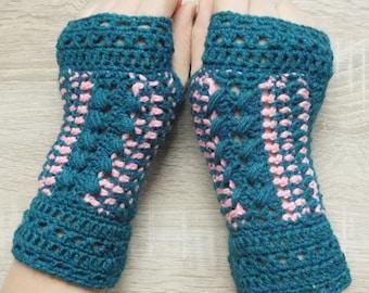 Petroleum mittens, Crochet mittens, Fingerless gloves, Fingerless mittens, Crochet fingerless gloves, Hand warmers - MADE TO ORDER 16111