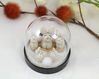 Nature bubble 'Family of rabbits' cold porcelain